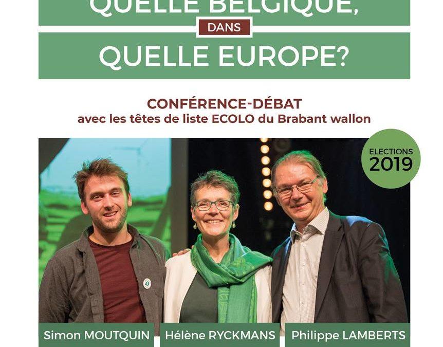 Écolo Beauvechain vous invite à une conférence débat avec Simon MOUTQUIN, Hélène RYCKMANS et Philippe Lamberts.